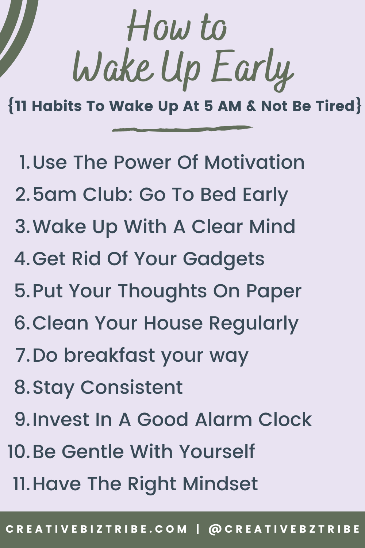 How to Wake Up Early creativebiztribe.com #wakeupearly #wakingupearly #5amclub 11 tips