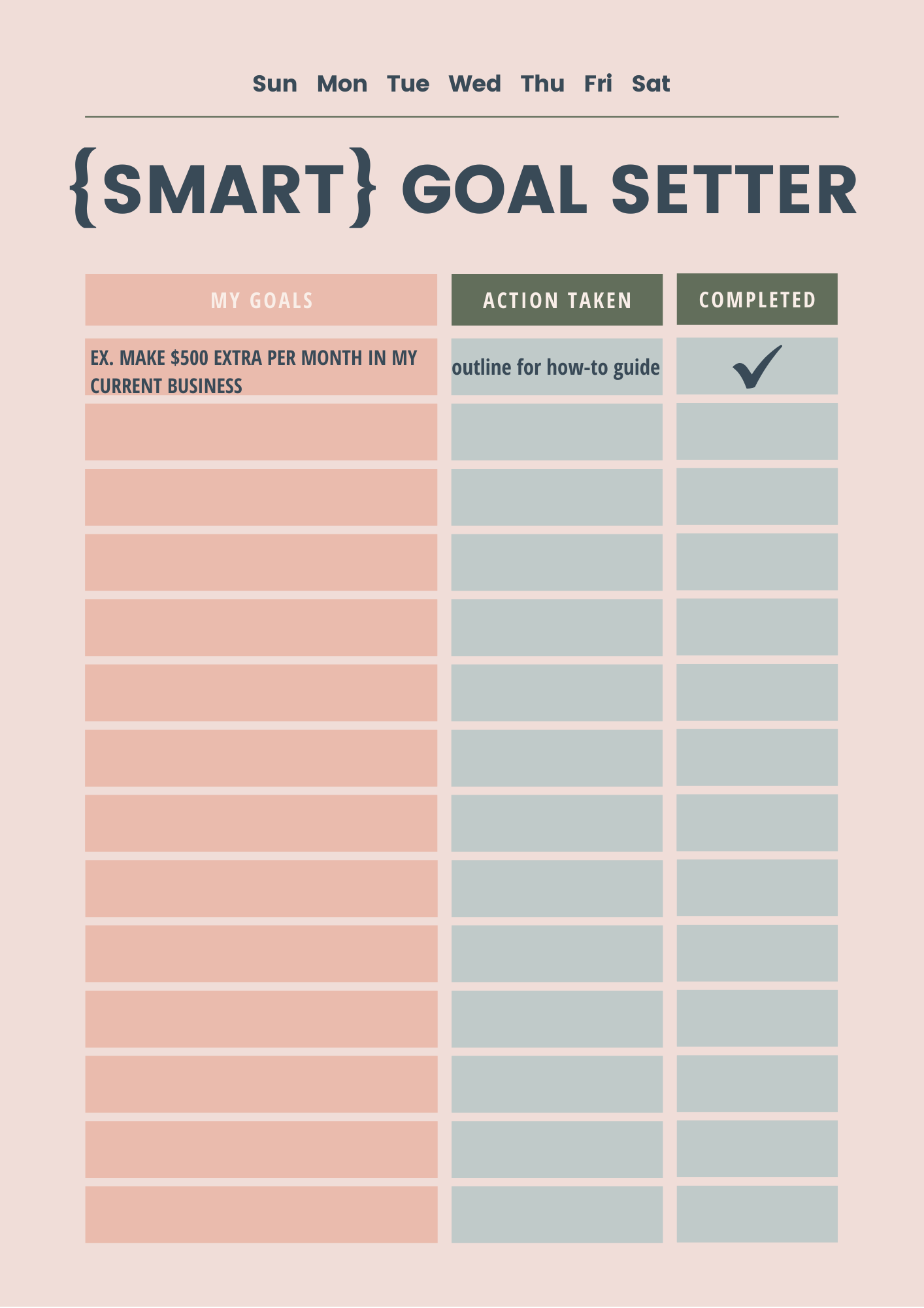 Smart Goals Template creativebiztribe.com #smartgoal #smartgoals #goals setting a goal