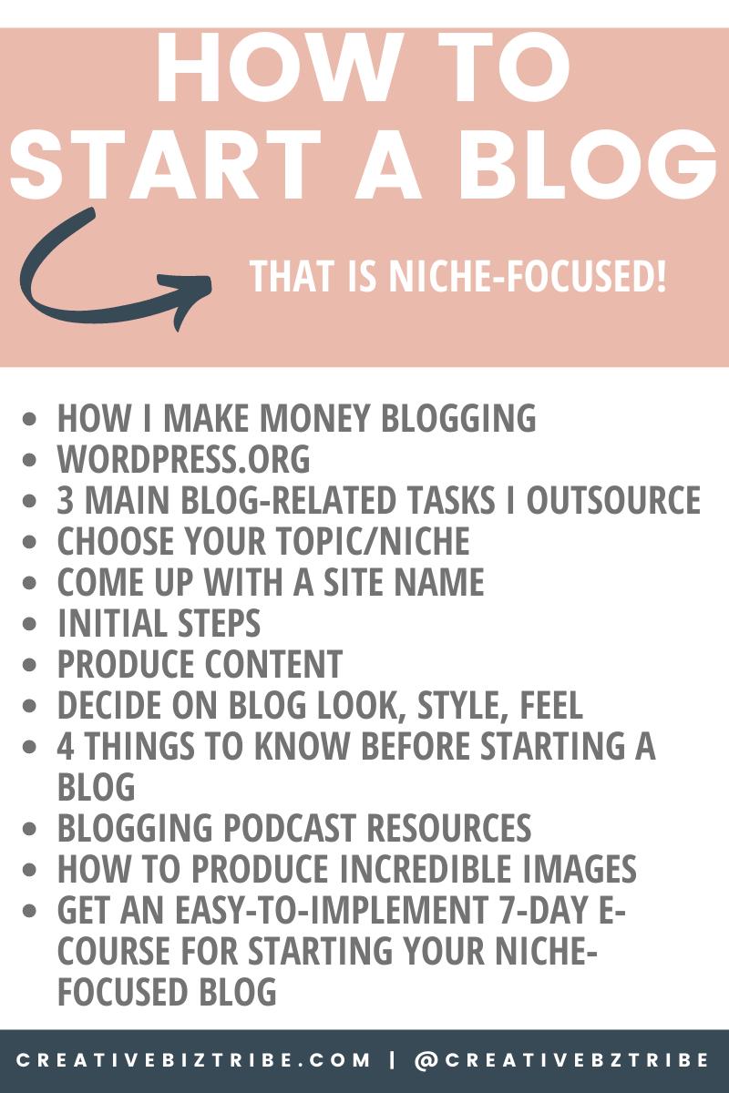 Starting a Niche Focused Blog how to creativebiztribe.com