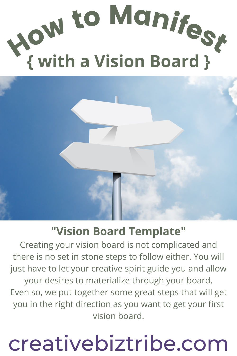 How to Manifest with a Vision Board creativebiztribe.com #manifest #visionboard #visionboards Template